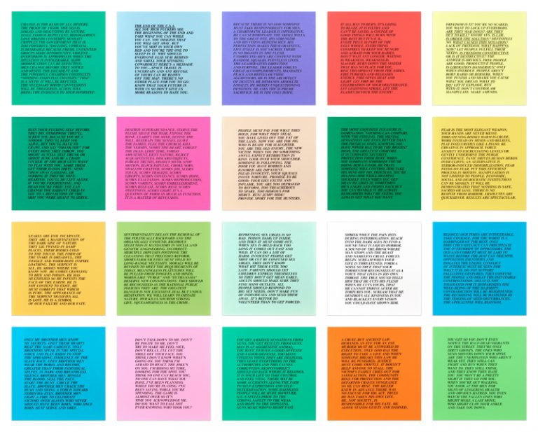 text on colorful sheets of paper